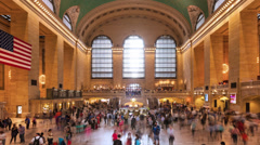 Timelapse of crowd in Grand central Station in Manhattan New York USA Stock Footage