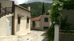 Pan from a street in Maries, Thassos Greece Stock Footage