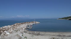Harbor and beach in skala marion Thassos Greece Stock Footage