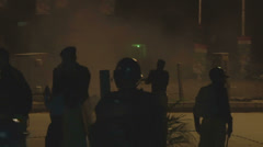 Police Teargas Rioters in Islamabad, Pakistan Stock Footage
