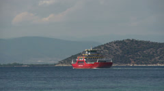 Ferry leaving Limenas, Thassos town,  Greece Stock Footage