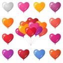 Stock Illustration of Festive heart shaped balloons, set