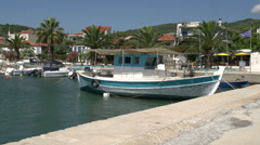Fishing boat in the harbor of skala kallirachi, Thassos Greece Stock Footage