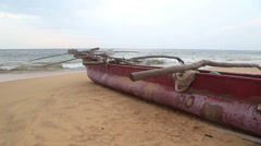 View of Hikkaduwa beach in Sri Lanka while waves are splashing the beach. Stock Footage