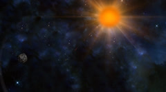 Space background with lens flare sun and 3d meteor Stock Footage