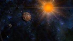 Space background with lens flare sun and 3d planet and meteor Stock Footage