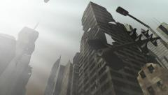 Collapsing building in an animated city Stock Footage