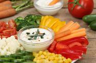 Stock Photo of healthy vegetable food plate with yogurt dip