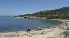 Fishing boats at the beach in skala marion Thassos Greece Stock Footage