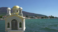 Greek little church near the sea in skala kallirachi, Thassos Greece Stock Footage