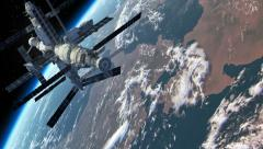 Flight Of The Space Station Above The Earth Stock Footage