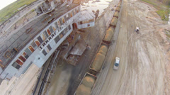 Air view on Sand mining excavator Stock Footage