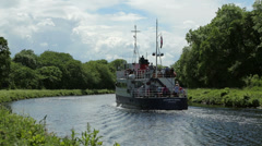 jacobite queen excursion boat at tomnahurich bridge, inverness, scotland - stock footage