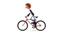 The 3D student by bicycle. - stock footage