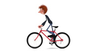 Stock Video Footage of The 3D student by bicycle.