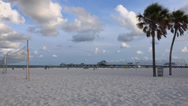 Stock Video Footage of Clearwater Beach, Volleyball, Pier 60 at sunrise