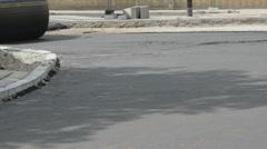 Vibratory roller on new asphalt Stock Footage