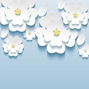 3d flowers sakura white, trendy beautiful wallpaper Stock Illustration
