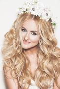 Portrait of affectionate blond bride. wedding makeup and hairdo. wedding deco Stock Photos