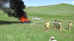 Fire fighters Vehicle Burn Training Stock Footage