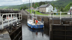 Lock gates close at fort augustus, caledonian canal, scotland Stock Footage