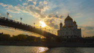 Stock Video Footage of Cathedral of Christ  Saviour and Patriarshy Bridge in Moscow on a sunset