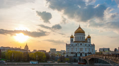 Sunset against  Cathedral of Christ Saviour, Moscow, Russia, timelapse - stock footage