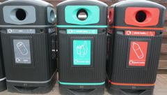 Recycle bins for rubbish and garbage, recyling Stock Footage