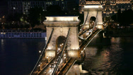 Stock Video Footage of Night traffic of cars on Secheni Bridge through Danube in Budapest