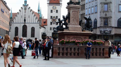 Mariensäule St Maria Column at Marienplatz Munich Bavaria Germany Europe Stock Footage