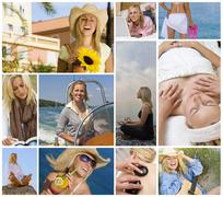 Female woman girl healthy travel lifestyle montage Stock Photos