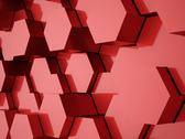 Stock Illustration of red abstract hexagonal background rendered