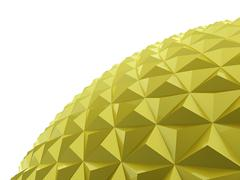 Yellow abstract sphere relief on white background Stock Illustration