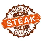 Steak grungy stamp isolated on white background Stock Illustration