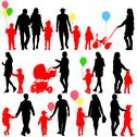 Stock Illustration of black set of silhouettes of parents and children with balloons on white backg