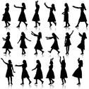 Stock Illustration of black silhouettes of beautiful womans on white background. vector illustratio