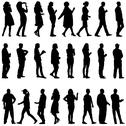 Stock Illustration of black silhouettes of beautiful mans and womans on white background. vector il