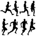 Stock Illustration of set of silhouettes. runners on sprint, men. vector illustration.