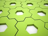 Stock Illustration of green hexagonal gears background rendered