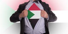business man with sudan flag t-shirt - stock illustration