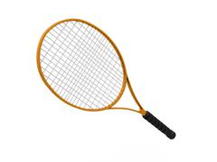 orange tennis racket isolated on white background - stock illustration