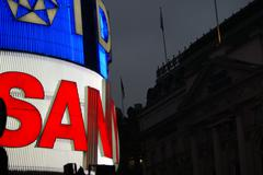 piccadilly circus - bright neon signs at night - stock photo