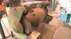 Sculpture artist studio metal lathe Stock Footage