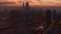 Chicago Night Skyscrapers Lake Michigan - stock footage