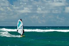 windsurfers in windy weather on maui island - stock photo