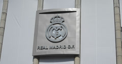 4K Close up of the Real Madrid Football club sign at home Stadium, Spain Stock Footage