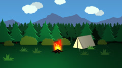 Campfire And Tent In Forest. Night Day Vacations Stock Footage