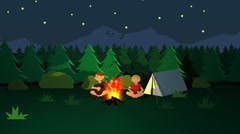Camping in Forest. Bonfire Sticks Tent Music Guitar Stock Footage