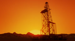 Drill Tower At Sunrise. Oil Rig Industry Drilling Derrick Stock Footage