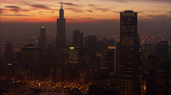 Chicago Night Skyscrapers Stock Footage